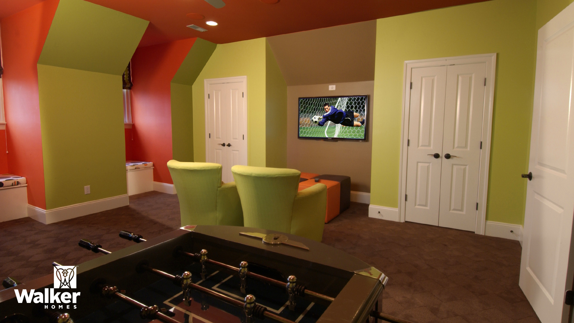 A Game Room from a custom home design by Walker Homes in Glen Allen, Virginia