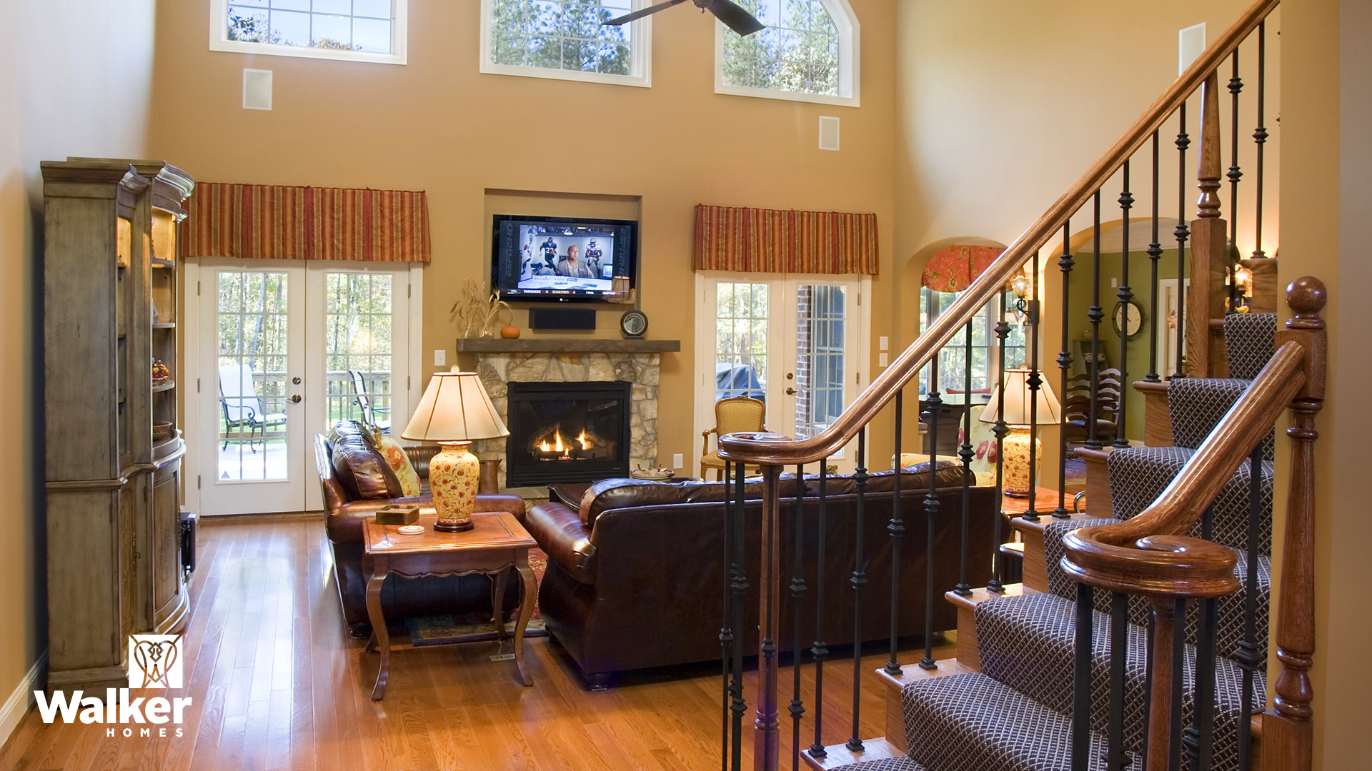 A Great Room from a custom home design by Walker Homes in Glen Allen, Virginia