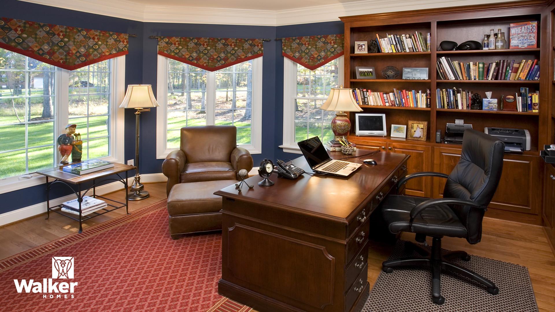A Home Office from a custom home design by Walker Homes in Glen Allen, Virginia