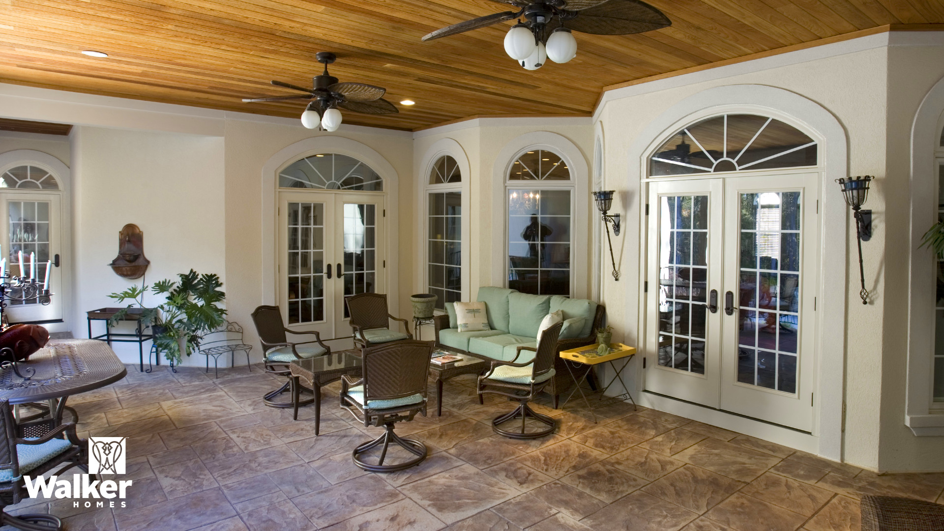 A Covered Porch from a custom home design by Walker Homes in Glen Allen, Virginia