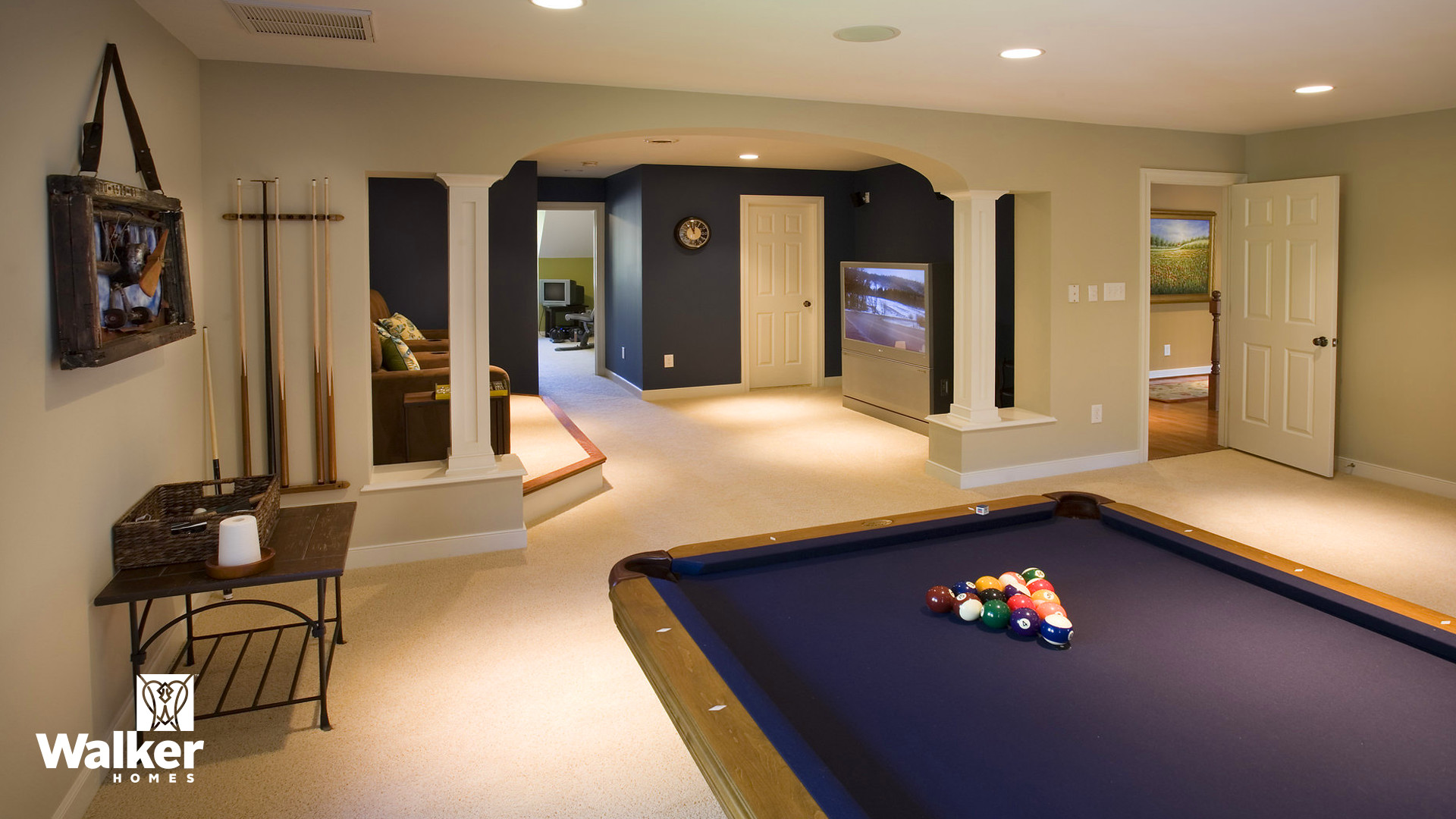 Media and Game Rooms from a custom home design by Walker Homes in Glen Allen, Virginia